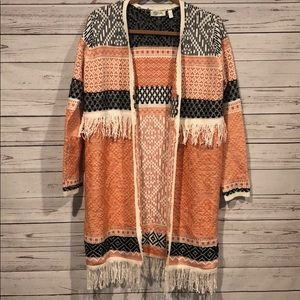 RD Style long open fringe sweater cardigan small